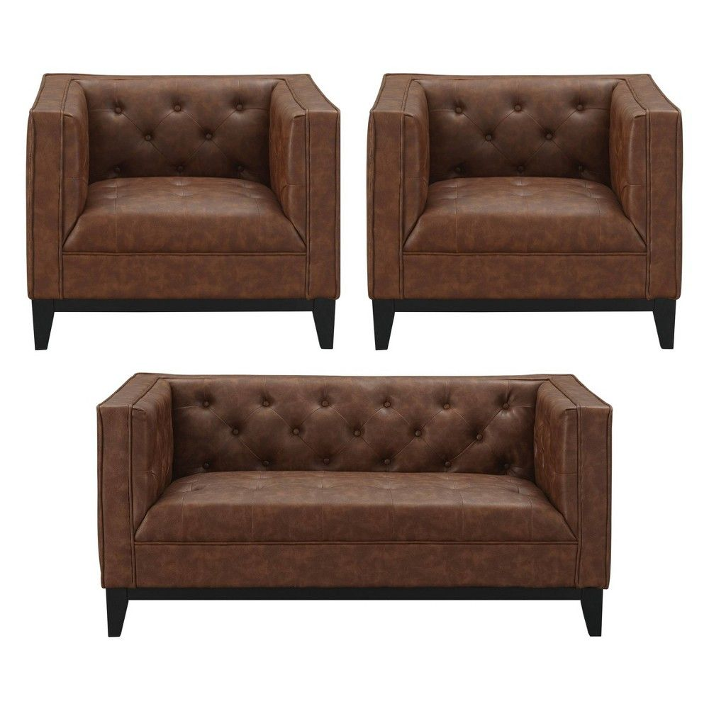 Fine 3Pc Cadman Faux Leather 2 Seat Loveseat And 2 Armchairs Creativecarmelina Interior Chair Design Creativecarmelinacom