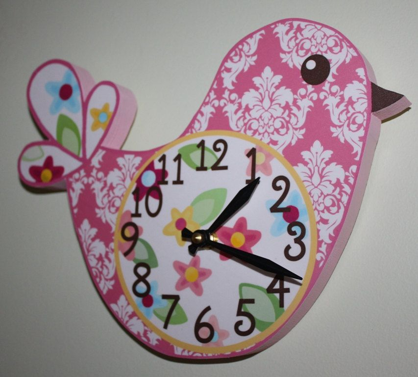 Any Colours - Damask with Flowers Pretty Lil Birdie Wooden Wall Clock for Girls Bedroom Baby Nursery to Match Many Bird Bedding Themes. $45.00, via Etsy.