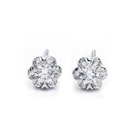 Beautiful One Carat Diamond Earrings On 14k White Gold