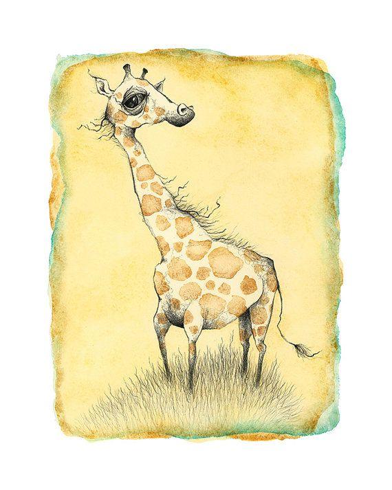 Philosophical Giraffe illustration print by amidthetrees on Etsy, $16.00