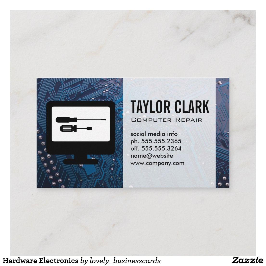 Hardware Electronics Business Card Zazzle Com Computer Repair Professional Business Cards Business Card Design