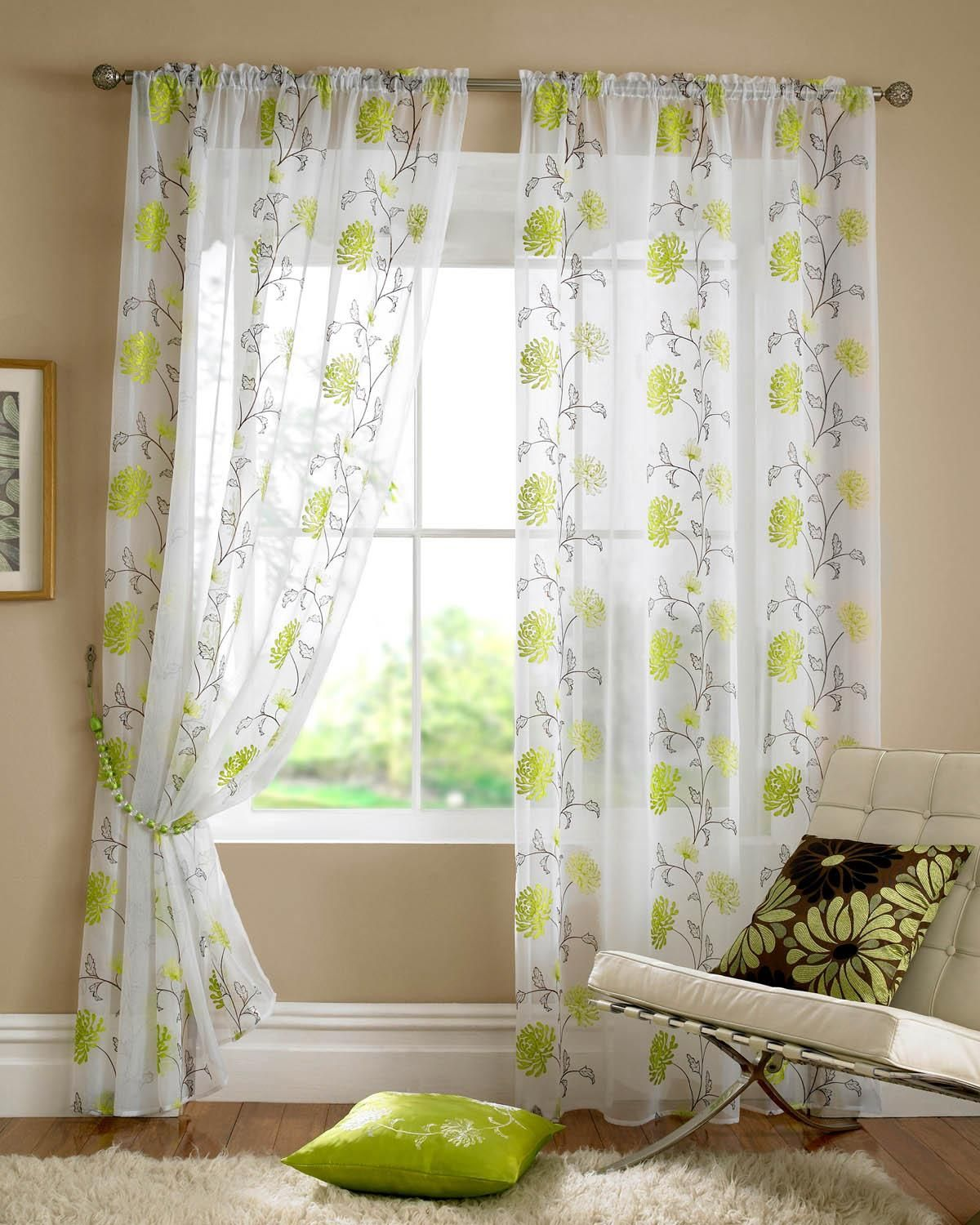 Lombok Rod Pocket Voile Lime Cheap Green Curtain Voile