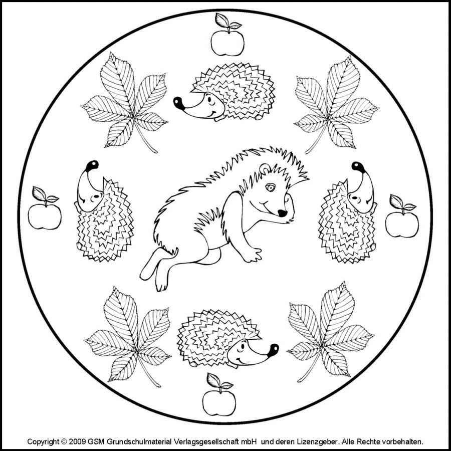 Mandala: Egeltjes.  Ausmalbilder, Mandala herbst, Herbst