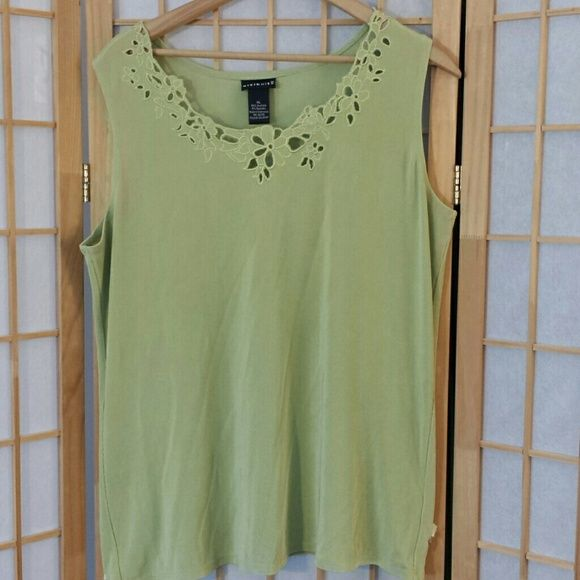 citiknit tank top XL 96 acetate 4 spandex  More lime green than mint green  but no neon green. ....celery green ...thats it : ) citiknit  Tops Tank Tops