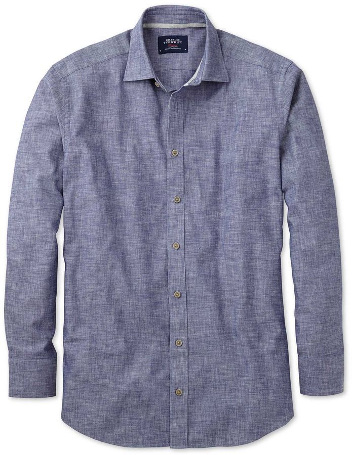 db7f274d6b Charles Tyrwhitt Extra Slim Fit Chambray Navy Textured Cotton Casual Shirt  Single Cuff Size XS