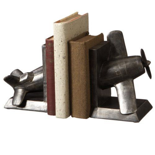 Vintage Airplane Library Bookend Set - Pewter Finish