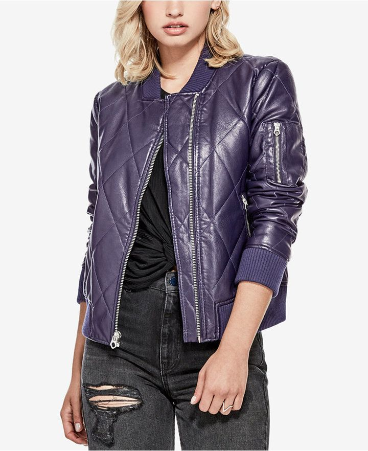 55a1fc478 GUESS Bella Faux-Leather Bomber Jacket | Products | Bomber jacket ...