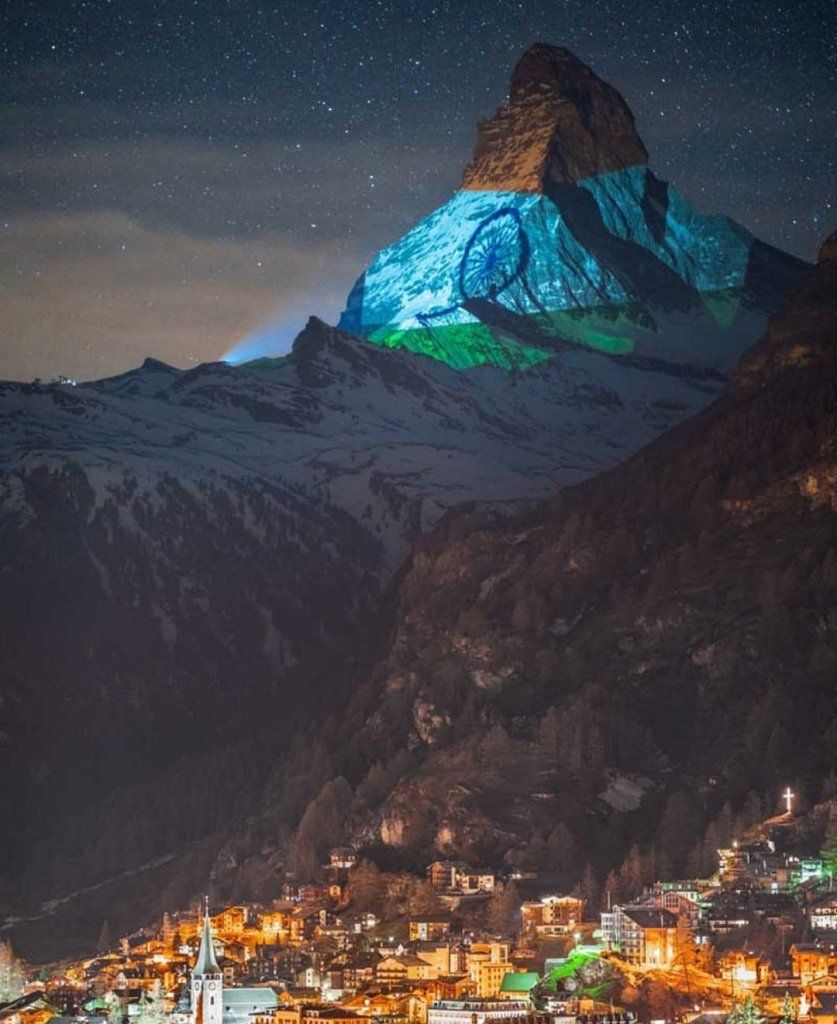 Switzerland's Matterhorn peak lights up with the Indian