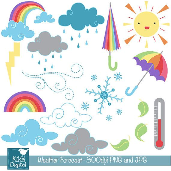Daily Weather Digital Clipart Scrapbooking Card Design Invitations Photo Booth Web Design Instant Download Clip Art Digital Clip Art Daily Weather