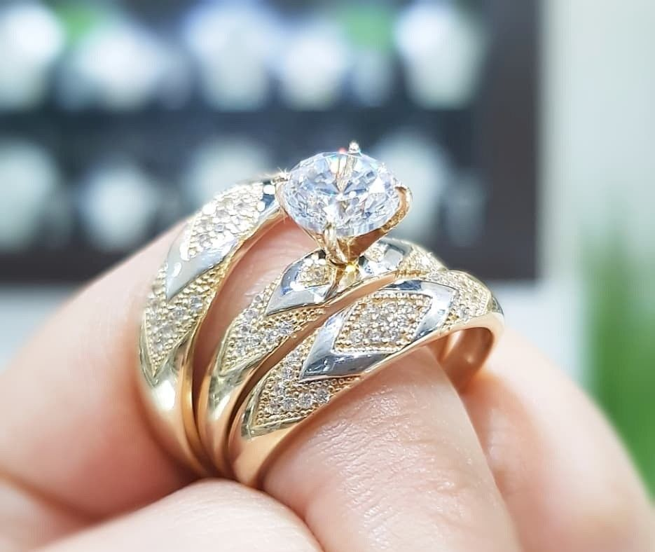 14k yellow gold fn diamond engagement bridal his her