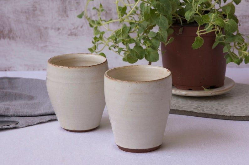 Rustic White Pottery Small Coffee Cup Ceramic Tumbler 6 Fl Oz Ceramic Tumbler Small Coffee Cups Pottery