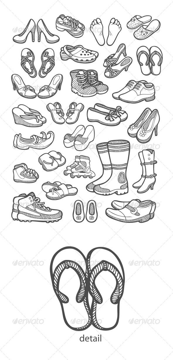 Shoes Icons Sketch | Sketches, Clip art pictures, Doodle art