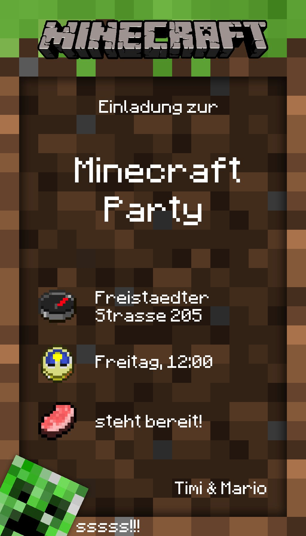Forrst  Original Image For Minecraft Party  A Post From Ream