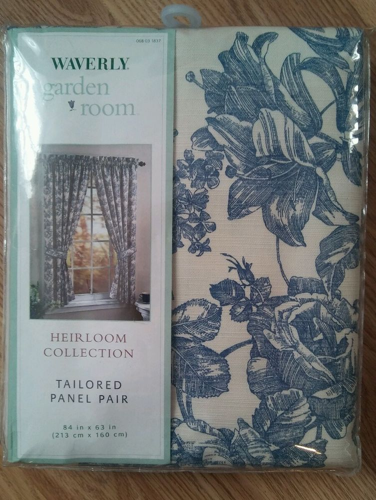 Waverly Garden Room Pair Blue Cream Toile Curtain Panels Heirloom Collection New Waverly Frenchcountry Waverly Toile Curtains Paneling