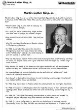 Martin Luther King Jr Day Fact Sheet 3 5 Martin Luther King Martin Luther Jr Fact Sheet
