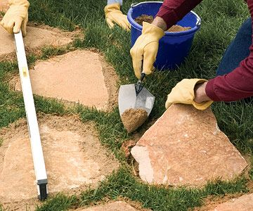 Great easy Stepping stone Paths Sand Set Mortared Patios