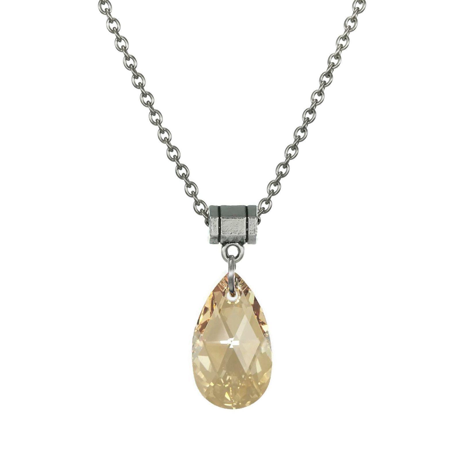 Jewelry by Dawn en Shadow Crystal Teardrop Pear Stainless Steel Chain Necklace