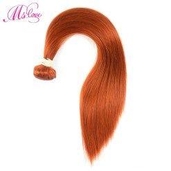 Ms Love Pre Colored #350 Orange P4/27 Brazilian Hair Straight Human Hair Bundles 1 Piece Non Remy Human Hair Extension 100 Gram