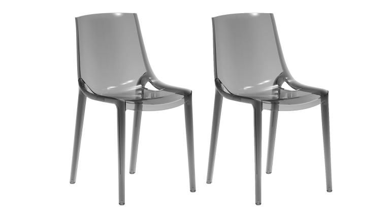 Lot de 2 chaises plexi design transparent Pengy