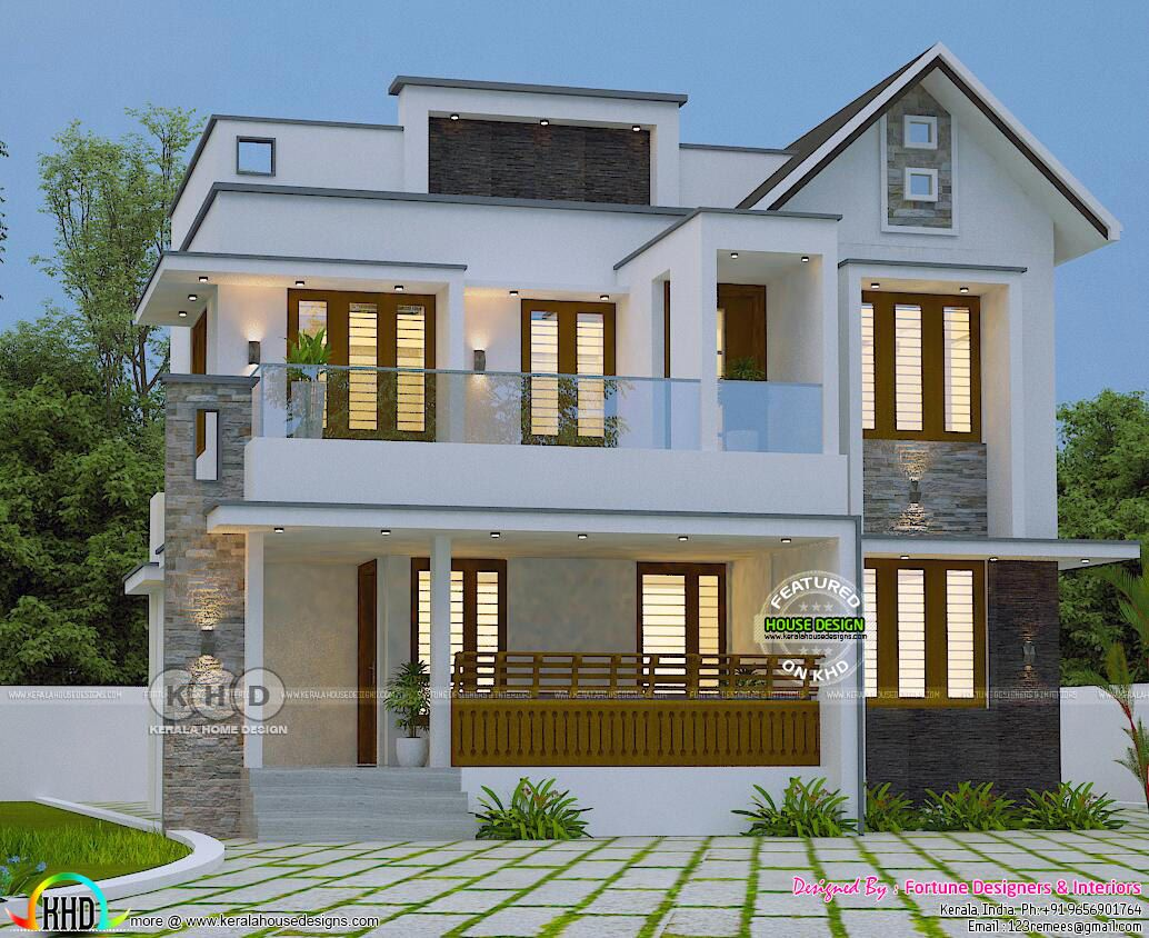 Trendy Kerala home design 2000 sq ft Kerala house design