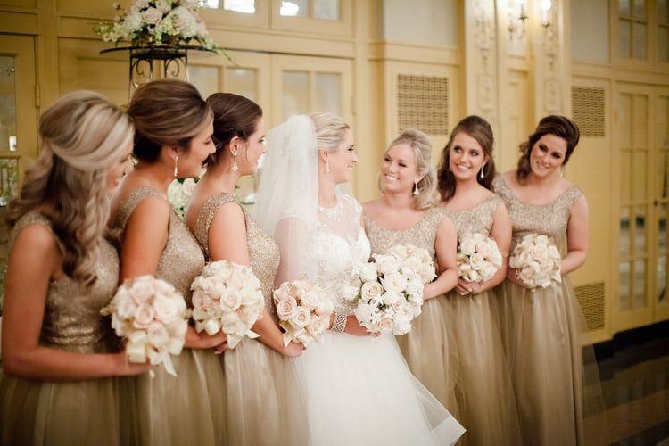Gorgeous champagne bridesmaids