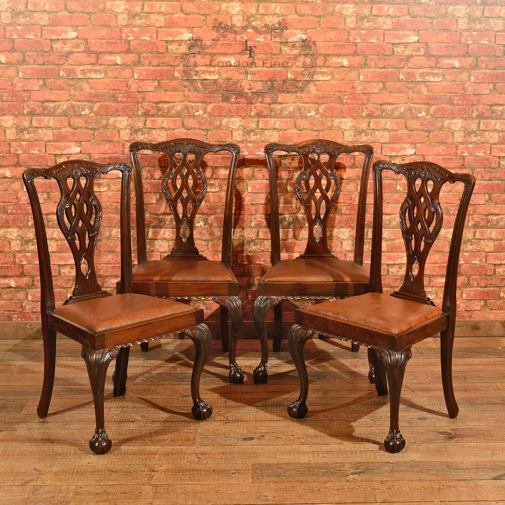Explore Antique Chairs, Dining Chairs, and more! - Victorian Set Of 4 Chippendale Revival Dining Chairs Antique