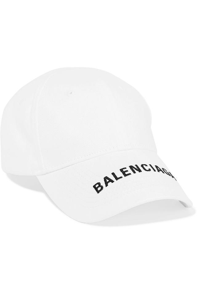 Balenciaga White Embroidered Logo Baseball Cap Hat Embroidered Baseball Caps Balenciaga Baseball Cap