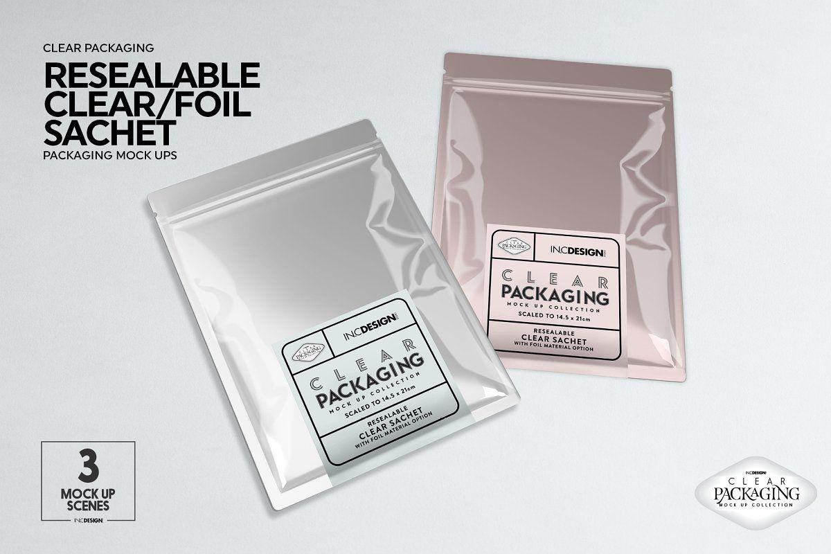 Download Clear Foil Sachet Packaging Mockup Packaging Mockup Free Packaging Mockup Foil Packaging