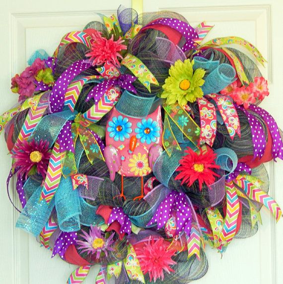 Hey, I found this really awesome Etsy listing at https://www.etsy.com/listing/185800381/owl-deco-mesh-wreath-mothers-day-gift