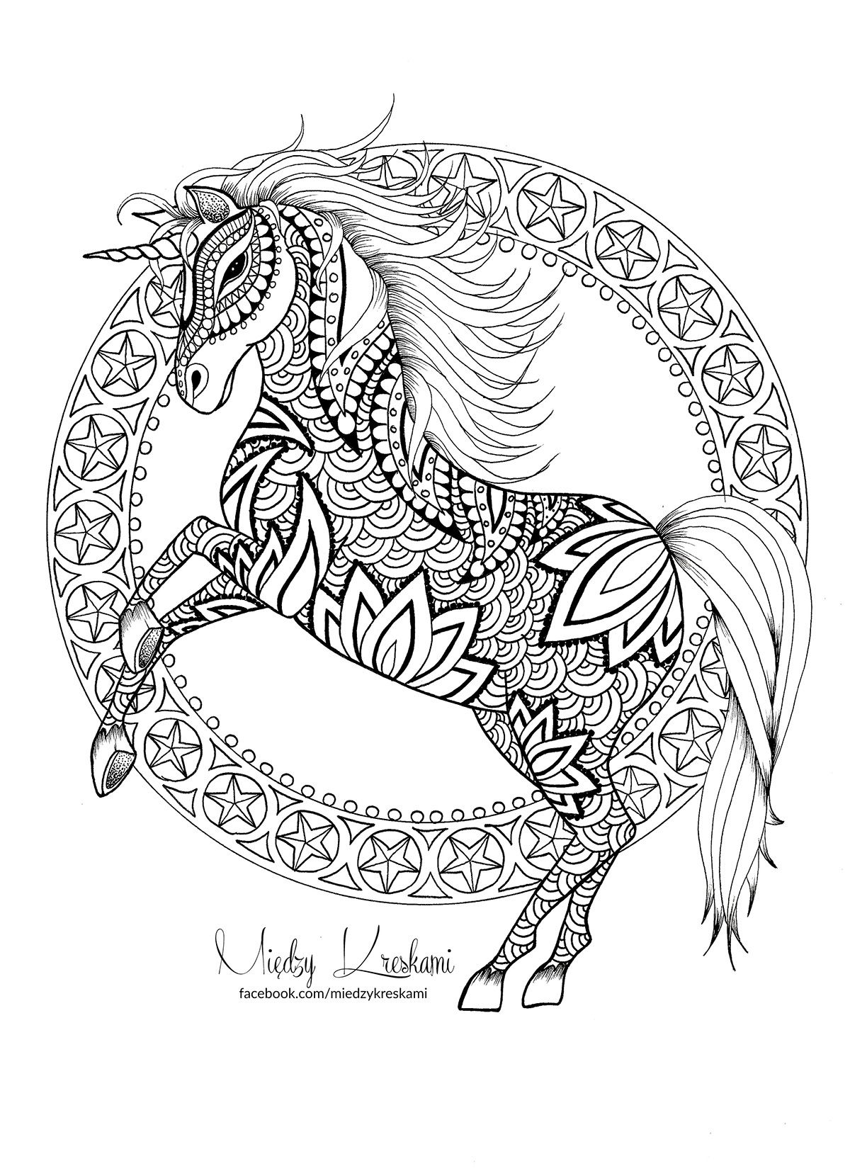 Unicorn doodle coloring page on Behance (With images ...