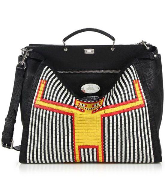afe1fc080cd0 Fendi Straw Monster Man Peekaboo Bag Black-White  298.00   bag in ...