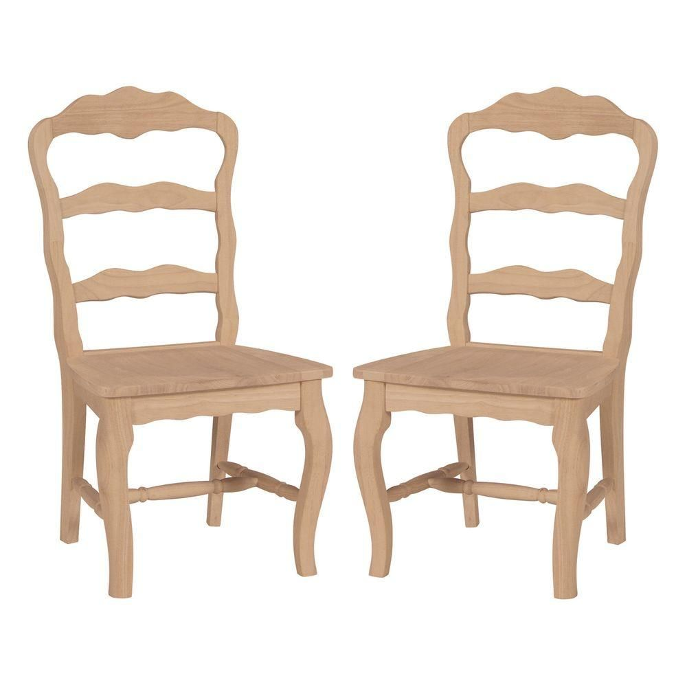 International Concepts Versailles Unfinished Wood Side Chair Set