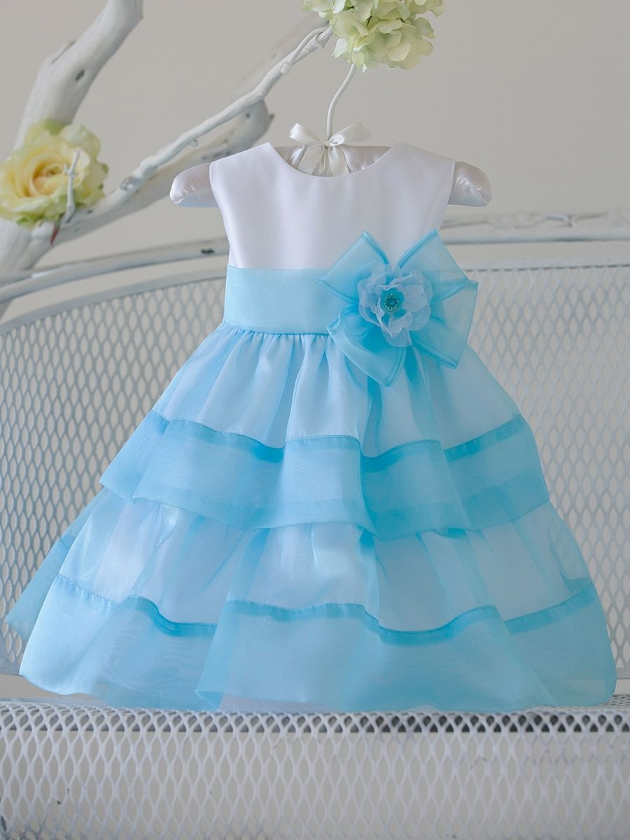 Baby Girl Turquoise Organza Layered Dress w/ Flower   Sky Blue ...