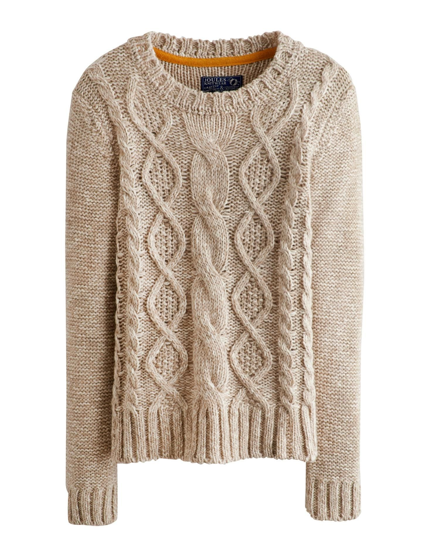 Oatmeal Marl Avelyn Womens Round Neck Cable Knit Sweater