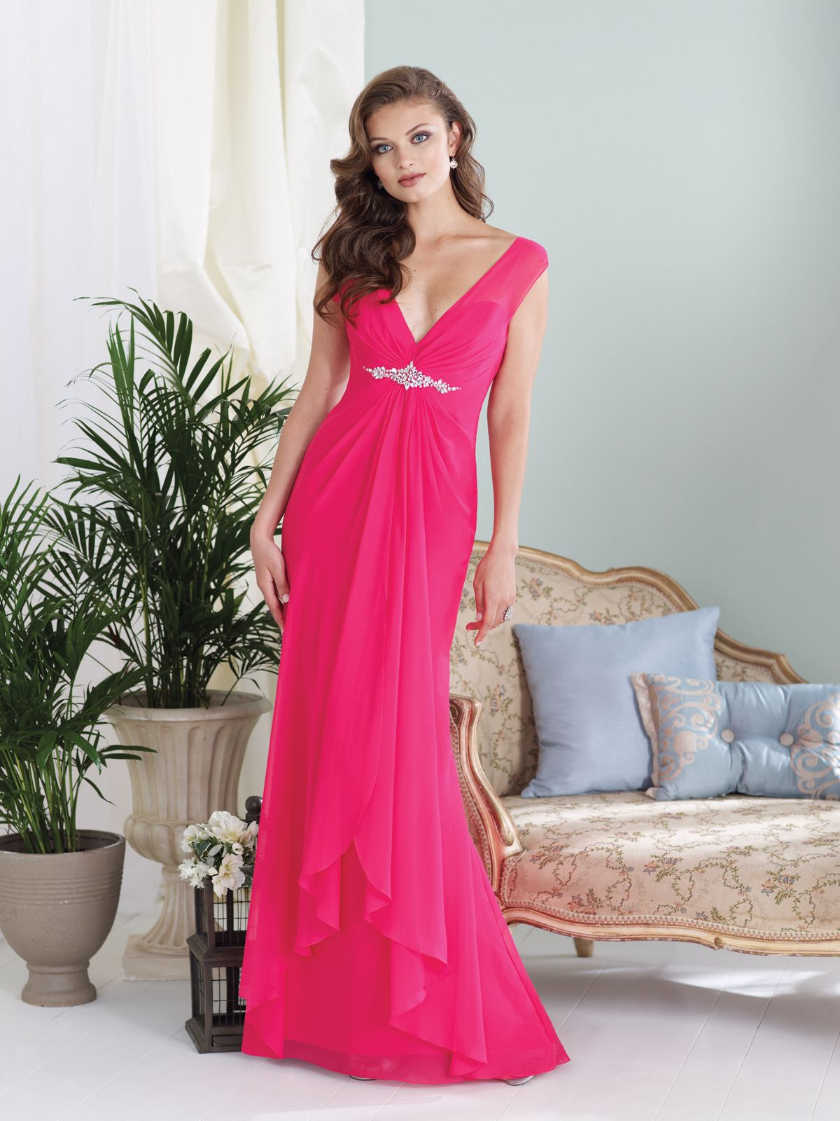 Sheath Off Shoulder V Neck Floor Length Fuchsia Chiffon Bridesmaid Dresses Sophia Tolli