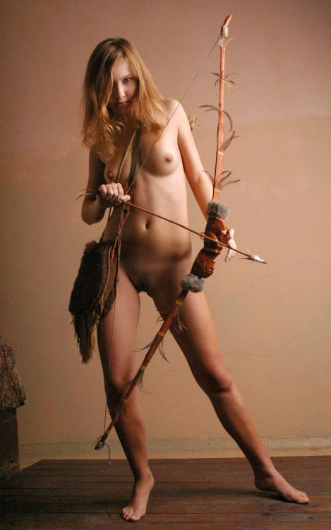 Naked girl archery