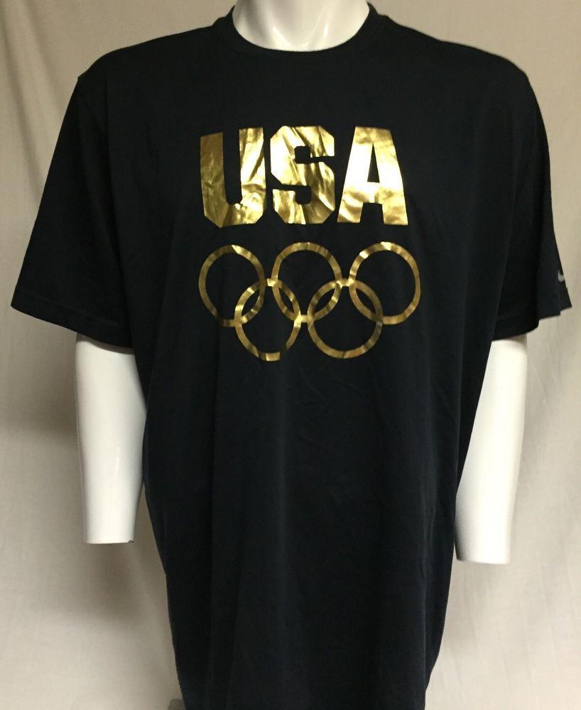 97b06ae2e320 Nike Running Dri Fit USA Olympics Black Gold XXL Short Sleeve Tee T-Shirt  2XL  Nike  ShirtsTops
