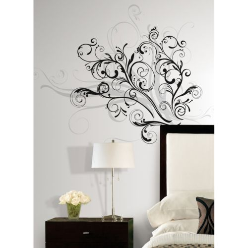 New Modern Black Silver Swirls Wall Decals Contemporary Decor Home Stickers Ebay With Images Wall Decals Contemporary Wall Decals Wall Decor