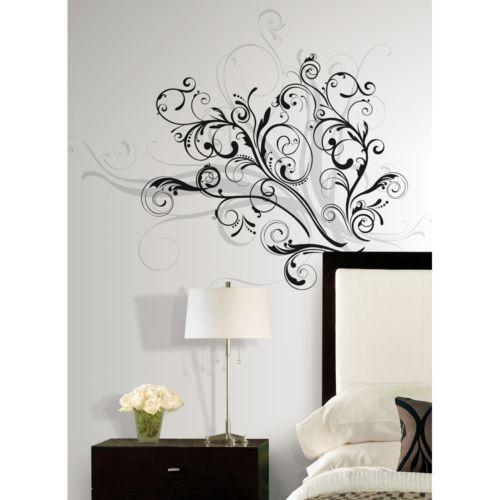 new modern black & silver swirls wall decals contemporary decor home