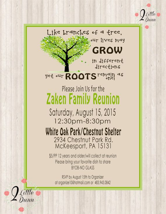 Family Reunion Invite  Printable Digital Invitation  Family