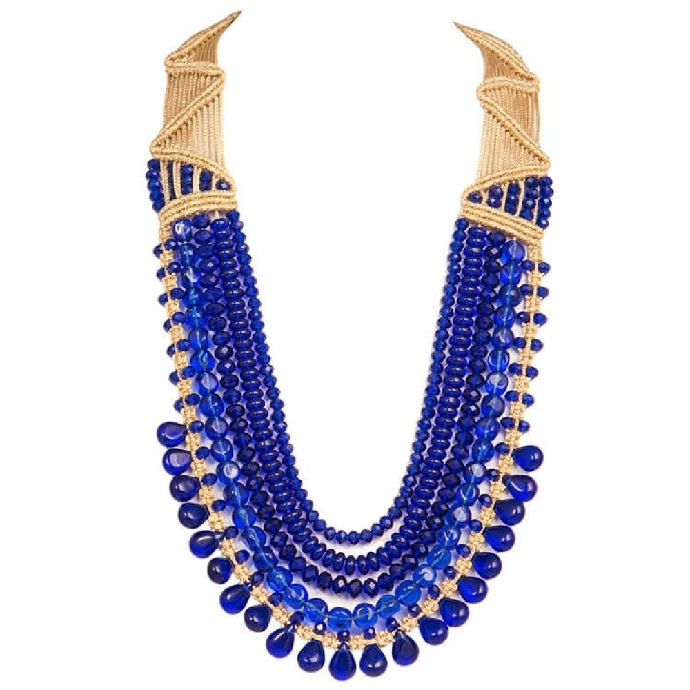 Blue crystal beads necklace crystal bead necklace