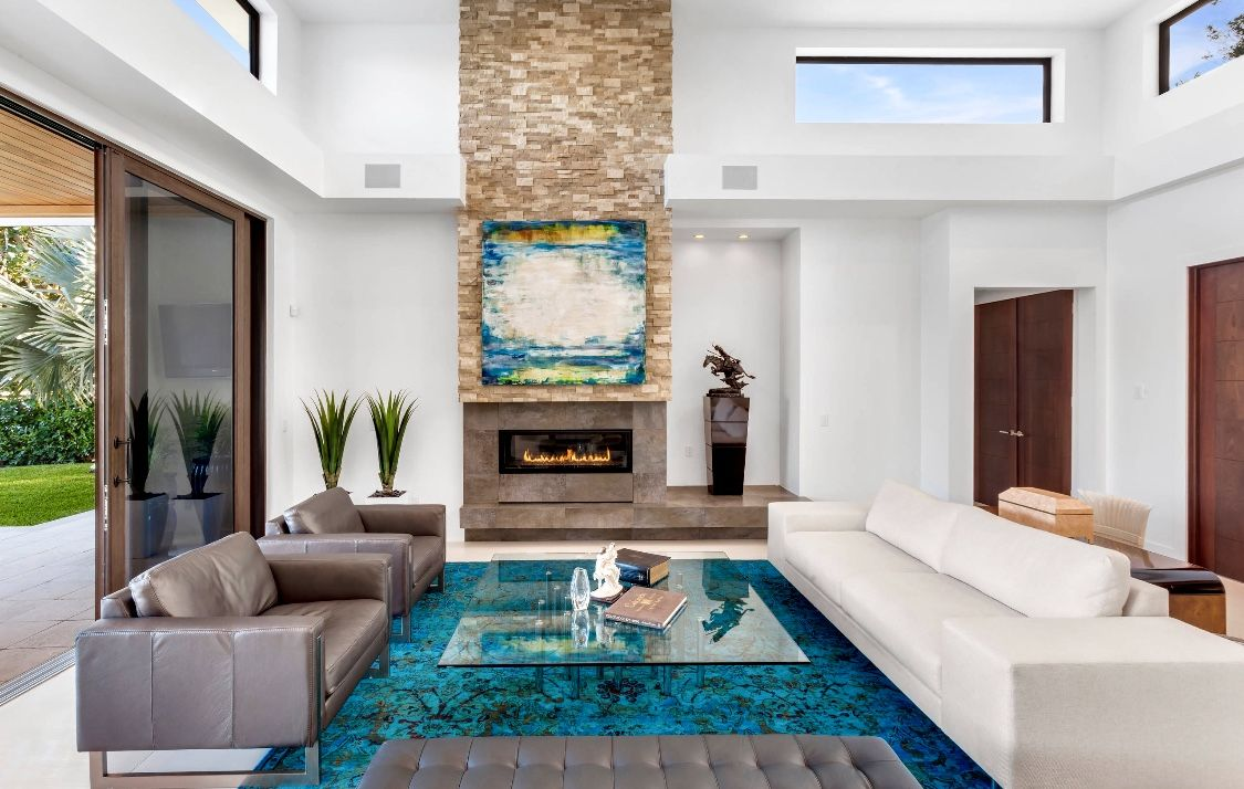 Modern Style Teal Living Room Decor With Teal Decor And White