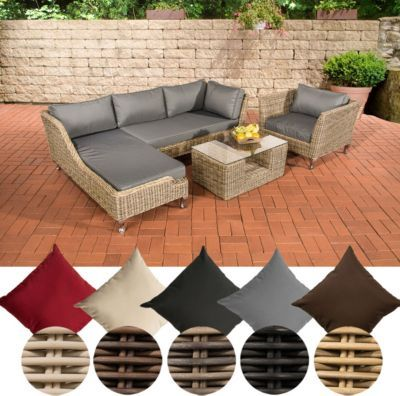 Fancy Poly Rattan Lounge Set MOSS mm RUND Geflecht Sitzpl tze