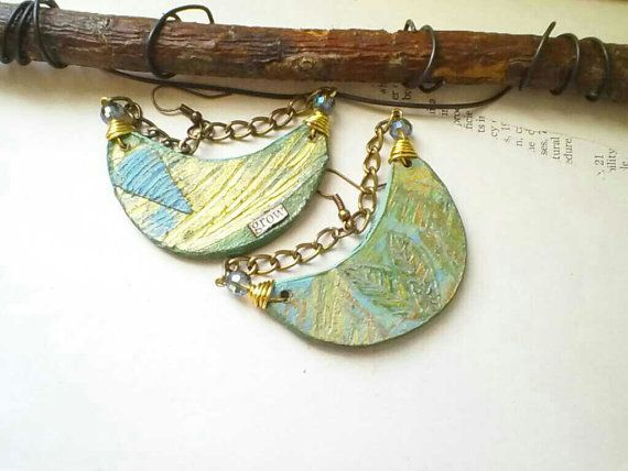 Earthy Boho Earrings  Indie Jewelry  Statement by PaperMemoirs, $32.00