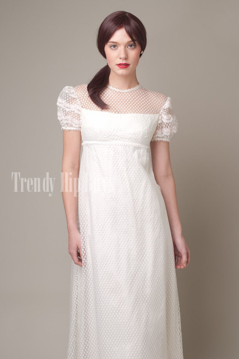 Vintage s white swiss dotted lace babydoll evening prom dress xs