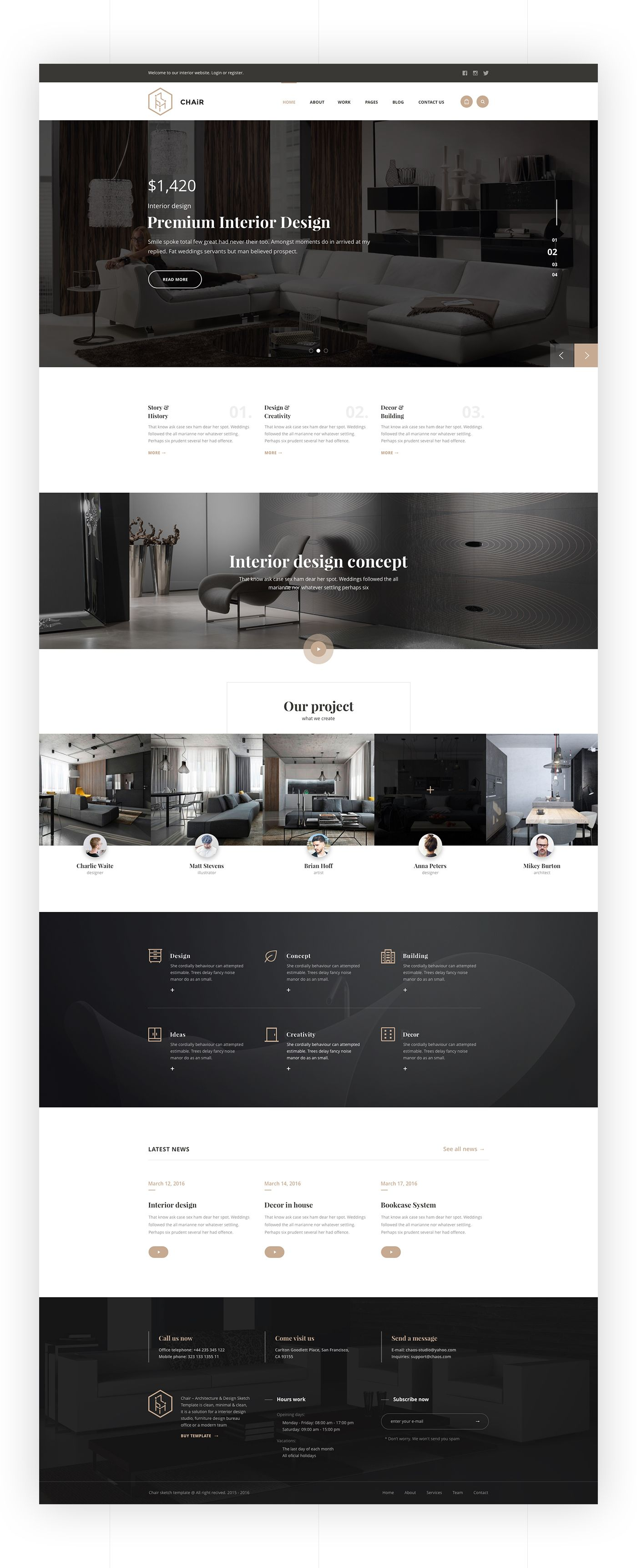 Chair is a pixel perfect and creative web site for Interior Design ...