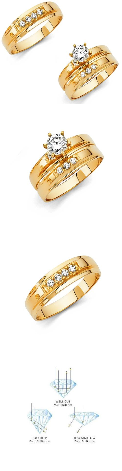 Cz Moissanite And Simulated 92878 14k Solid Yellow Italian Gold Wedding Band Bridal Solitaire Engagement