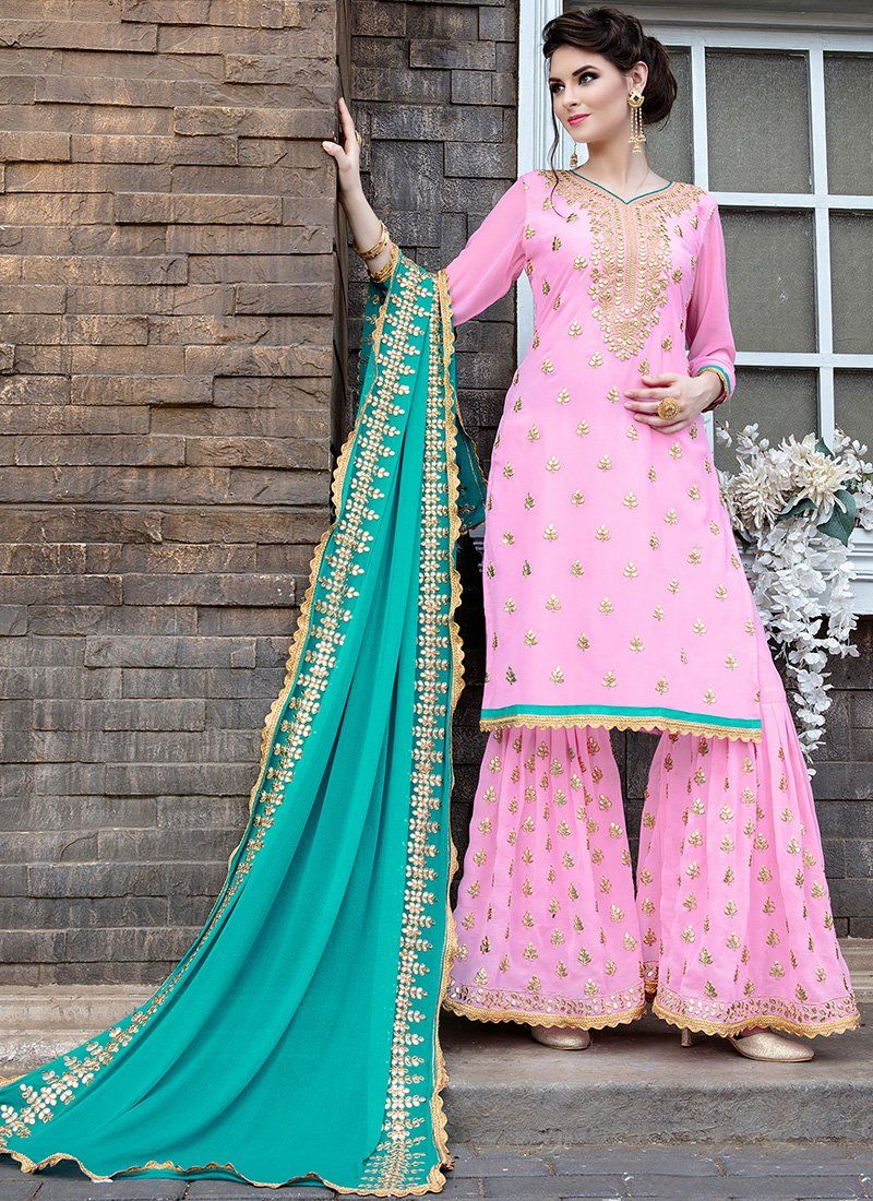 9d28ef760c Light Pink and Blue Embroidered Georgette Gharara Suit in 2019 ...
