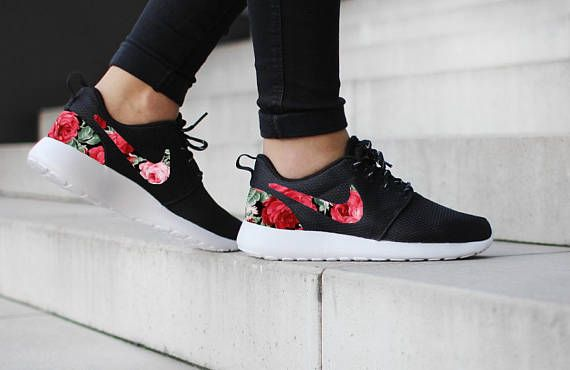 18106693c7fa Nike Roshe One Black with Custom Red Rose Floral Fabric Design ...