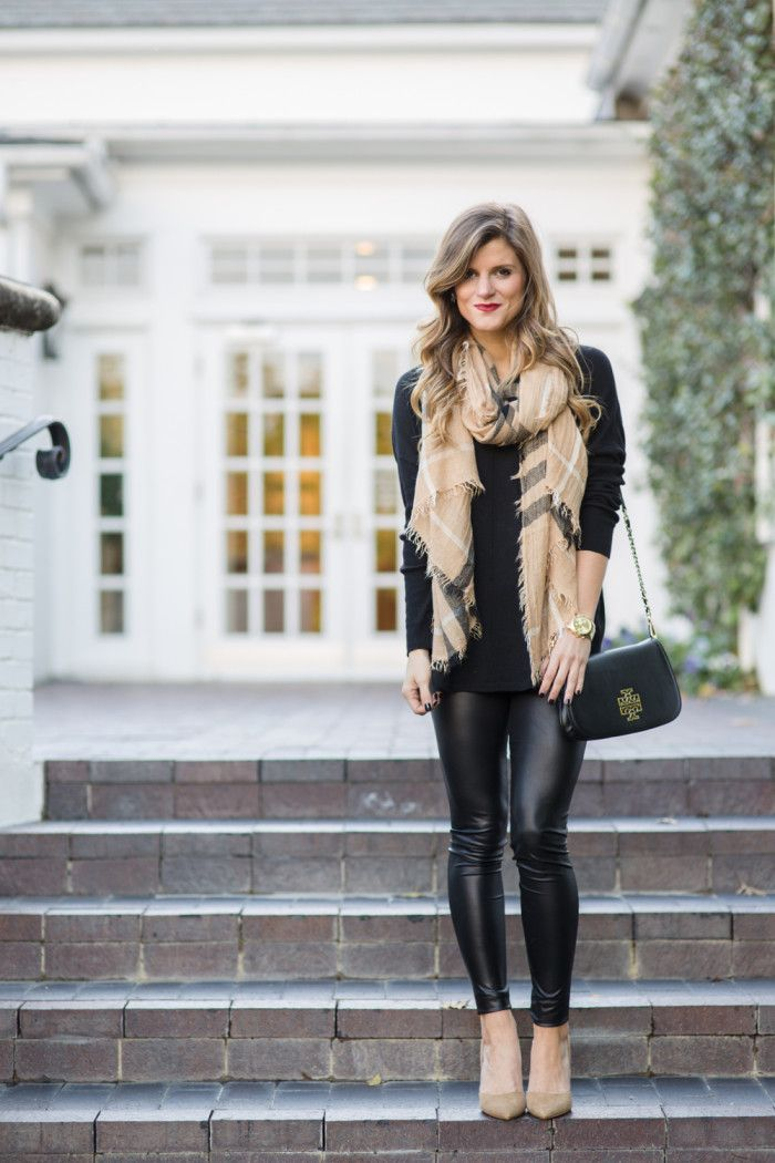 f3aeabde4c9 Valentines Day Outfit Idea No. 8  Rock some leather leggings with an  oversized sweater and heels